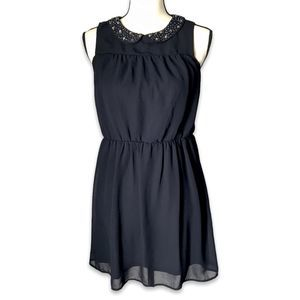 Loft navy Peter Pan collar lined sleeveless dress